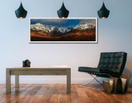 Evening sunlight on the snow topped Cuillin mountains - White Maple floater frame with acrylic glazing on Wall