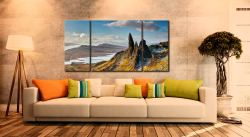 Old Man of Storr and Cuillins - 3 Panel Wide Centre Canvas on Wall