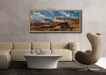 The snow covered Trotternish mountains on the Isle of Skye - Oak floater frame with acrylic glazing on Wall