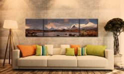 Loch Stainge From Rannock Moor - 3 Panel Wide Centre Canvas on Wall