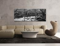 Borrowdale Mill Panorama - Black and white 3 Panel Canvas on Wall