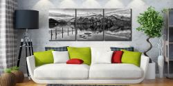 Derwent Water Panorama - Black and white 3 Panel Canvas on Wall