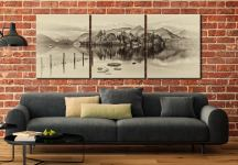 Derwent Water Panorama - Sepia 3 Panel Canvas on Wall