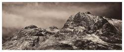 Snow on the Langdale Pikes - Dark Sepia Print
