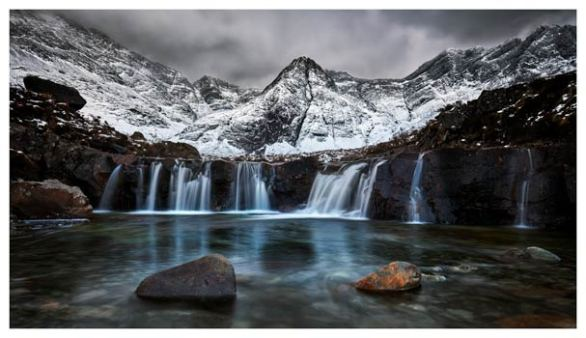 Snow at the Fairy Pools Waterfalls - Isle of Skye Print