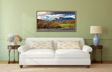Golden Trees of Langdale - Oak floater frame with acrylic glazing on Wall