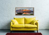 View over Derwent Water to a sunlit Cat Bells - Oak floater frame with acrylic glazing on Wall