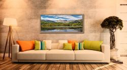 Summer view of the Langdale Pikes over Elter Water - Oak floater frame with acrylic glazing on Wall