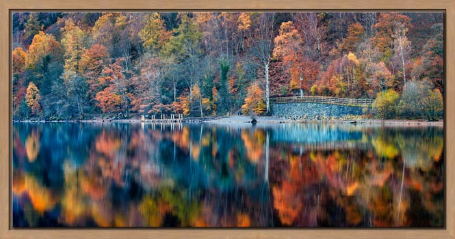 Autumn Ashness Derwent Water - Oak floater frame with acrylic glazing