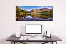 A summer afternoon at Wast Water with Sca Fell reflecting in the calm waters of the lake - Print Aluminium Backing With Acrylic Glazing on Wall