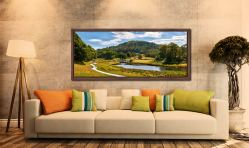 The River Brathay in Birk Rigg Park near Elterwater - Walnut floater frame with acrylic glazing on Wall
