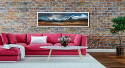 Rannoch Moor Winter Panorama - White Maple floater frame with acrylic glazing on Wall