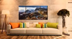 Sunshine and Snow on the Quiraing - 3 Panel Wide Centre Canvas on Wall