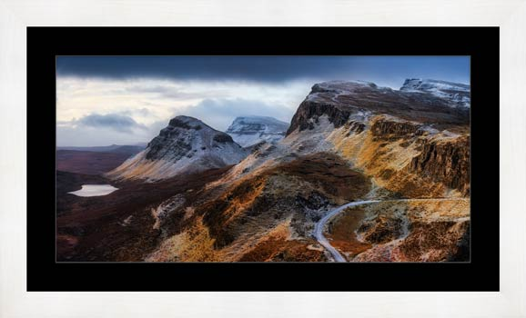 Sunshine and Snow on the Quiraing - Framed Print with Mount