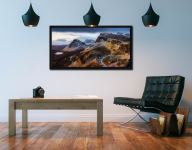 Sunshine and Snow on the Quiraing - Black oak floater frame with acrylic glazing on Wall