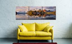 Rising Mists Derwent Water - 3 Panel Canvas Print on wall