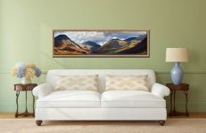 Sunlight on Wasdale Mountains - Oak floater frame with acrylic glazing on Wall