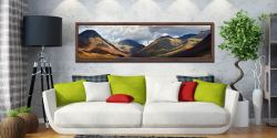 Sunlight on Wasdale Mountains - Walnut floater frame with acrylic glazing on Wall