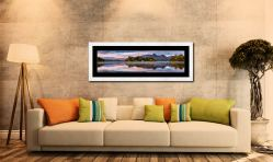 Derwent Isle Dawn Light - Framed Print with Mount on Wall