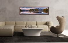 Derwent Isle Dawn Light - Walnut floater frame with acrylic glazing on Wall