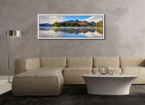 A serene, misty morning at Derwent Water - White Maple floater frame with acrylic glazing on Wall