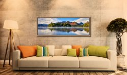 A serene, misty morning at Derwent Water - Oak floater frame with acrylic glazing on Wall