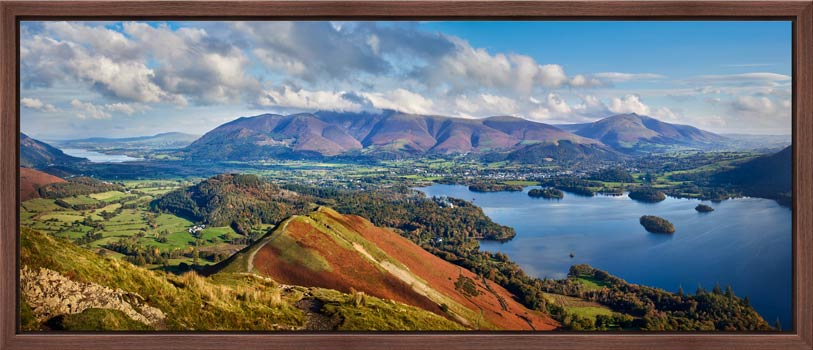 View along the spine of Cat Bells over Keswick to Skiddaw