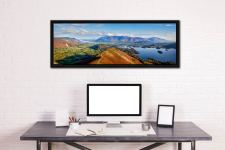 Panoramic view from the summit of Cat Bells - Black oak floater frame with acrylic glazing on Wall