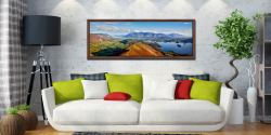 Panoramic view from the summit of Cat Bells - Walnut floater frame with acrylic glazing on Wall