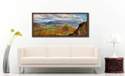 Cat Bells and the Newlands Valley viewed from the flanks of Maiden Moor - Walnut floater frame with acrylic glazing on Wall