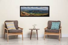 View over Coniston Village to Coniston Water - Black oak floater frame with acrylic glazing on Wall