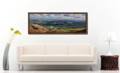 View over Coniston Village to Coniston Water - Walnut floater frame with acrylic glazing on Wall
