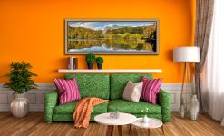 A lovely late Summer afternoon at Loughrigg Tarn - Oak floater frame with acrylic glazing on Wall
