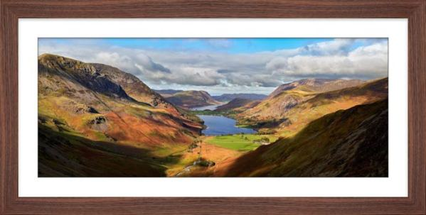 Sunshine on the Buttermere Valley - Framed Print with Mount