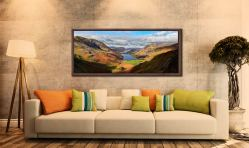 Sunshine on the Buttermere Valley - Walnut floater frame with acrylic glazing on Wall