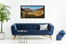 The Buttermere Valley Autumn Sunshine - Black oak floater frame with acrylic glazing on Wall
