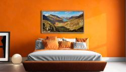 The Buttermere Valley Autumn Sunshine - Oak floater frame with acrylic glazing on Wall
