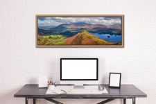 View over the summit of Cat Bells to Skiddaw - Oak floater frame with acrylic glazing on Wall