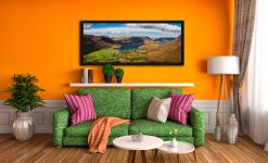 Buttermere Village Crummock Water - Black oak floater frame with acrylic glazing on Wall
