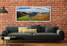 Buttermere Village Crummock Water - White Maple floater frame with acrylic glazing on Wall