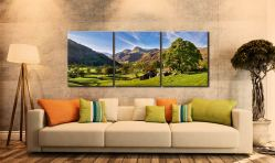 Summer in Great Langdale - 3 Panel Canvas on Wall