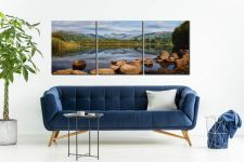 Elterwater Summer Reflections - 3 Panel Canvas on Wall