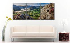 Heather Rocks Crummock - 3 Panel Canvas on Wall