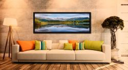 A perfectly calm summer's morning at Elterwater in Langdale - Black oak floater frame with acrylic glazing on Wall
