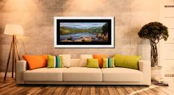 Elterwater Summer Reflections - Framed Print with Mount on Wall