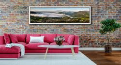 Misty Summer Morning Over Derwent Water - White Maple floater frame with acrylic glazing on Wall