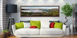 Misty Summer Morning Over Derwent Water - Walnut floater frame with acrylic glazing on Wall