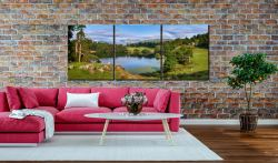 Summer Greens of Loughrigg Tarn - 3 Panel Canvas on Wall