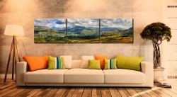 Sunlight on the Eskdale Fells - 3 Panel Canvas on Wall