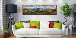 Sunlight on the Eskdale Fells - Walnut floater frame with acrylic glazing on Wall